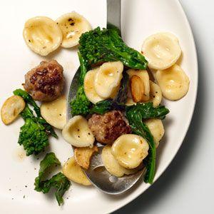 Orecchiette With Sausage Meatballs, Broccoli Rabe, and Garlic | Recipe