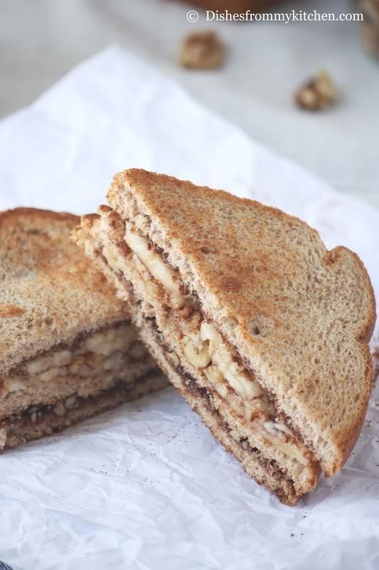 BANANA NUTELLA TOAST/SANDWICH !!!! | delightful foods | Pinterest
