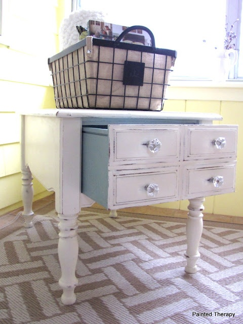 A before and after of Franklin, the side table.  Painted Therapy