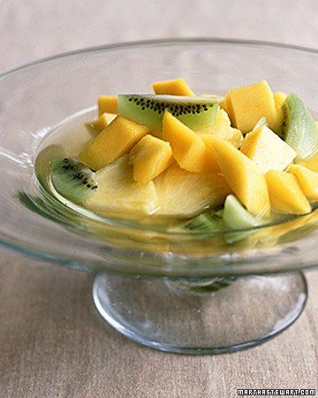 Poached Tropical Fruit Over Sorbet | Recipe