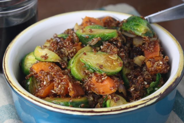 roasted brussels sprouts and sweet potato bowls with maple dijon ...