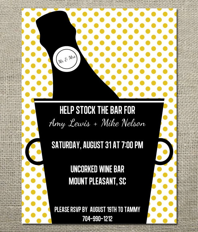 Stock the Bar Wedding Shower / Engagment Party Champagne Invitation