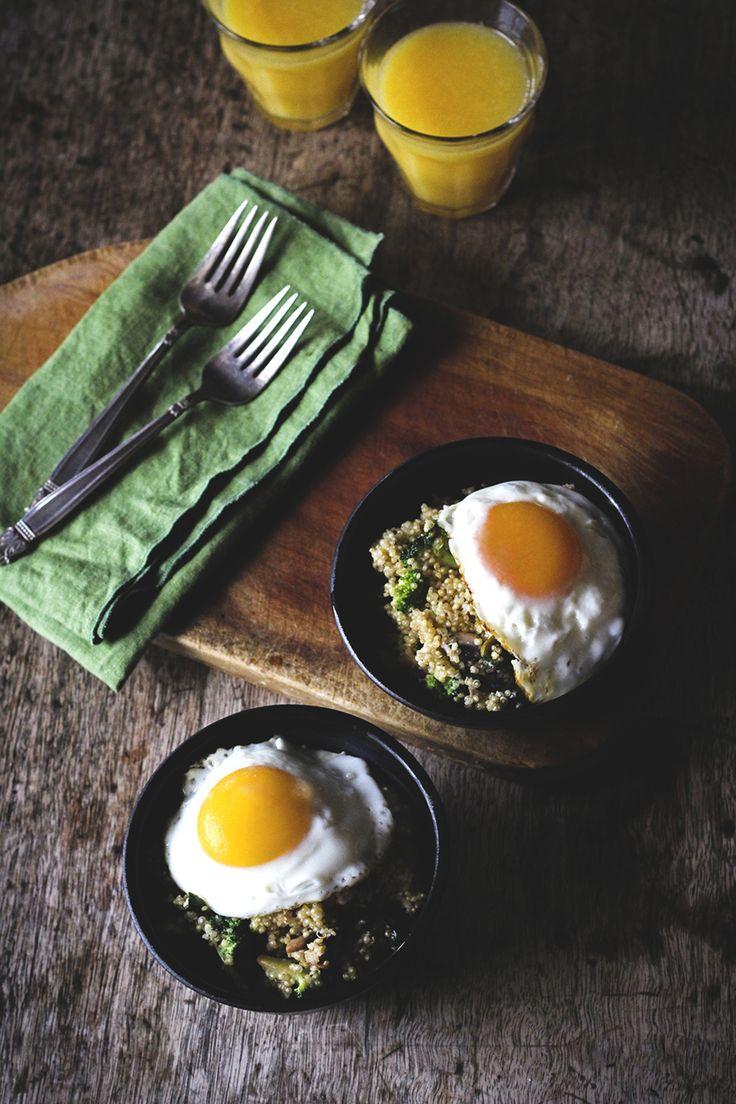 Veggie Quinoa Breakfast Bowl- I love fried eggs with quinoa. What ...