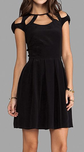 Cut Out Shoulders Black Dress