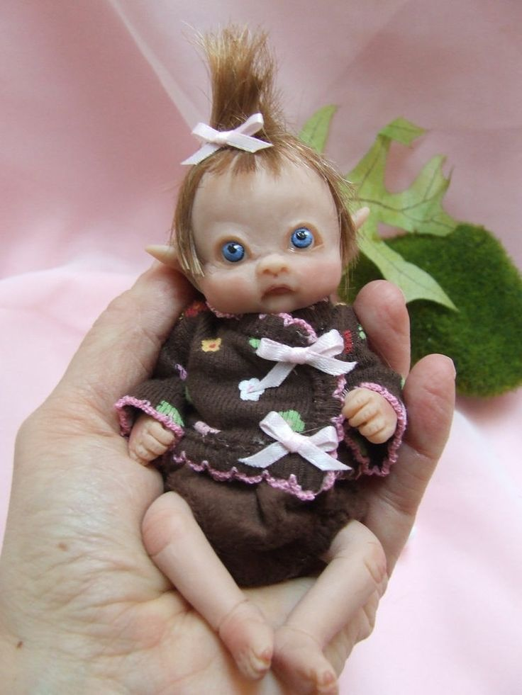 Ooak sculpted baby girl polymer clay leprechaun fairy elf art doll po