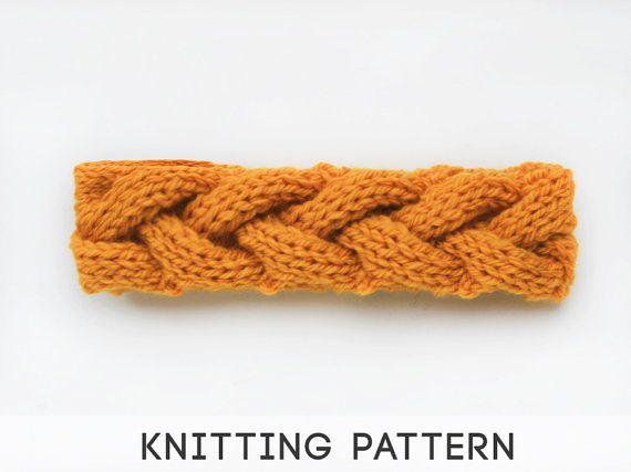 PDF Headband Knitting Pattern, Knitted Braid Cable Headwarmer, Braid