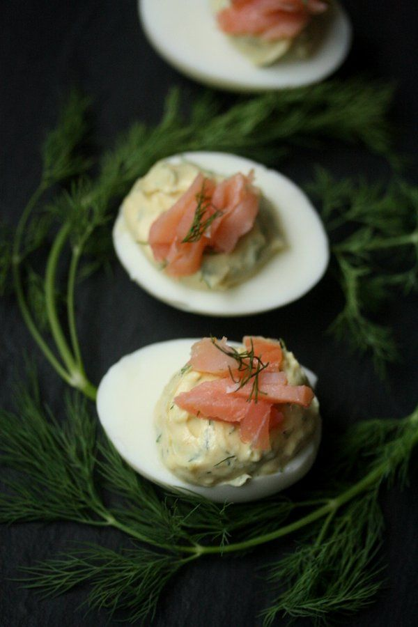 Deviled Eggs with Smoked Salmon and Dill | food | Pinterest