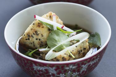 ... tofu with shiitake mushrooms with a side of Brussels sprout, apple and