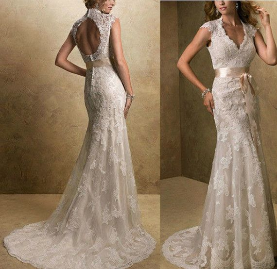 2014 new sexy v neck lace wedding dress cap sleeve mermaid for Hot dresses for weddings