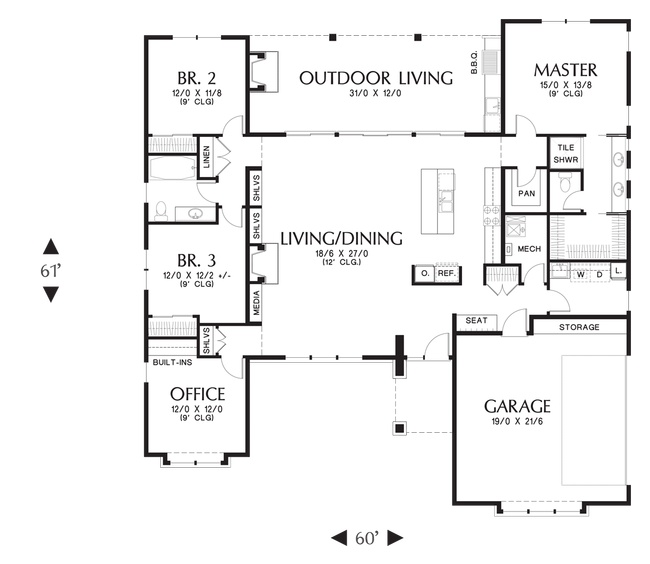 Mascord house plan 1247 - House plans with bonus rooms upstairs ...