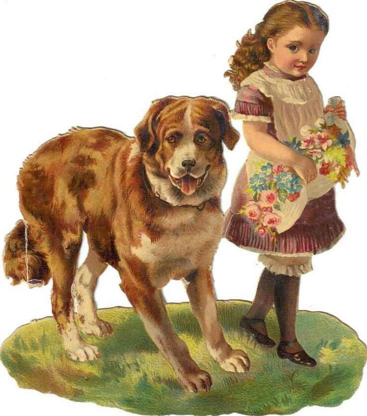 Larger  Victorian Die Cut Scrap Little Girl & Huge Dog c1880 picclick.com