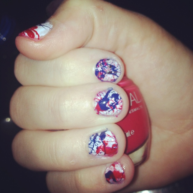 4th of July splatter nails!
