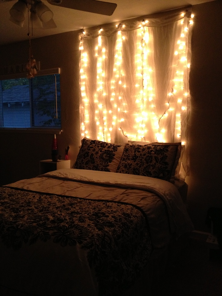 String Lights On Bed Frame : My light up headboard! home and decors Pinterest