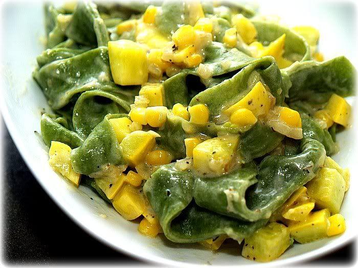 Spinach Tagliatelle with Summer Squash and Corn.