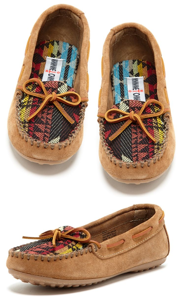 Cute Minnetonka Mocs! Love the fabric on the tops. #Fall #Minnetonka #Moccasins #Mocs #Fashion #Shoes