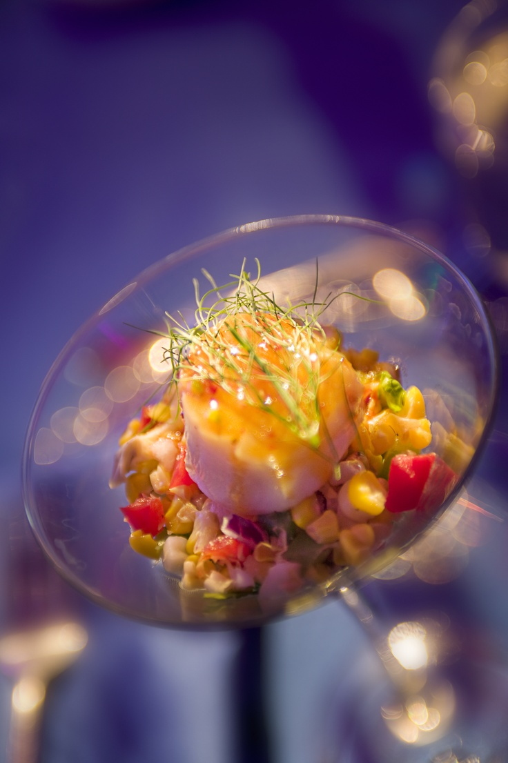 ... scallop with lime, jalapeno vinaigrette and grilled corn fennel salsa