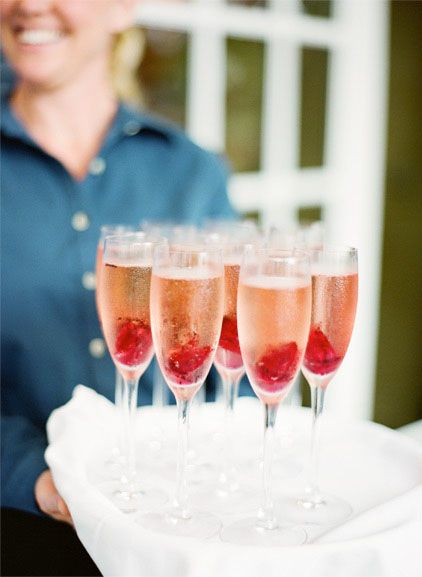 Pretty beverages in champagne flutes.   Photo by KT Merry Photography. www.wedsociety.com  #wedding #drinks