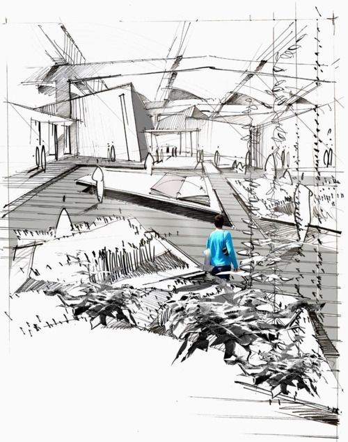 architecture interior sketch plans sections details sketches