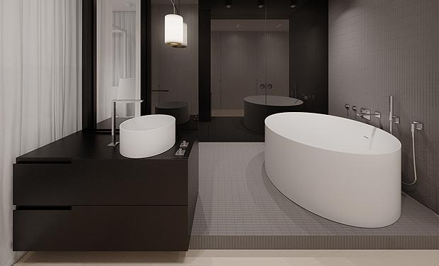 :: BATHROOMS :: Image Credit: tamizo.pl/ Note: Innovative alternative floor plan for a luxurious master ensuite with the shower & bath area within one showcase feature - love the detailing of this spa room #bathrooms #tamizo