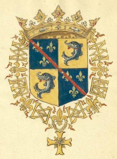 «Recueil de blasons coloriés des chevaliers de l'Ordre du Saint-Esprit (1579-1581)», par J. Bette, sieur d'Angreau [BNF Ms Fr 25202 - ark:/12148/btv1b53038272f] -- Le dauphin de France [François de Bourbon, Prince Daulphin, Duc de St. Fergeau, et du pais de Puisaye, Pair de France] (f°28r).