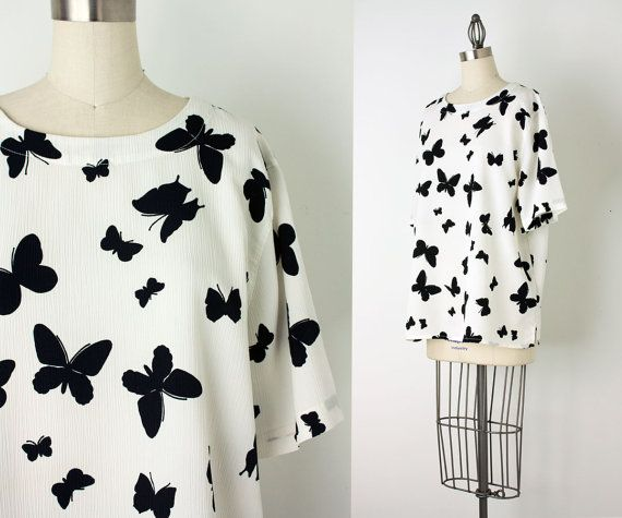 1980s Vintage Black And White Butterfly Blouse   Medium by decades       Vintage Butterfly Black And White