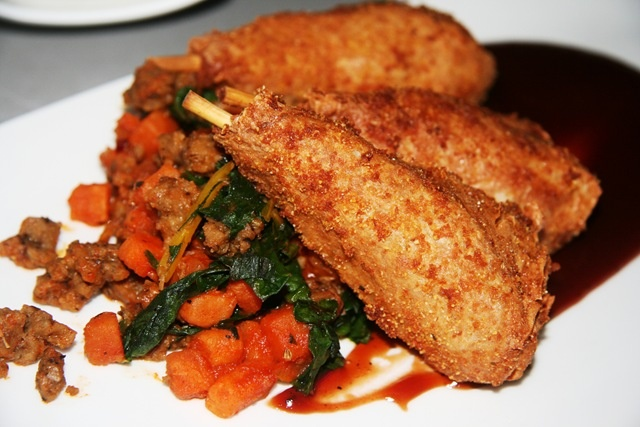"... Chicken drums"" with sweet potato hash, sauteed spinach, and BBQ"