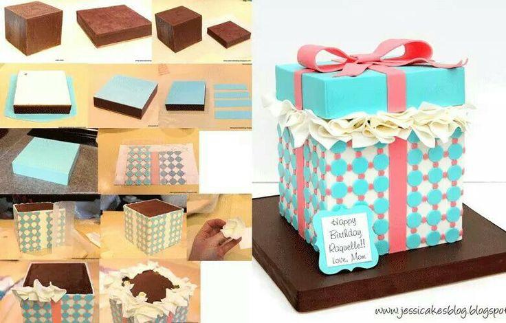 Gift box Cake tutorials Pinterest