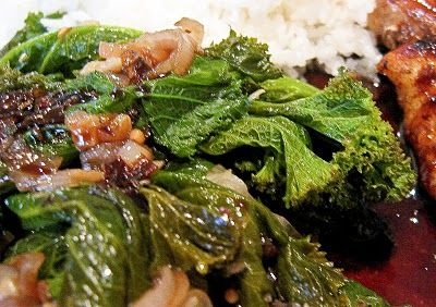 Balsamic Glazed Orange Roughy with White Wine Braised Mustard Greens