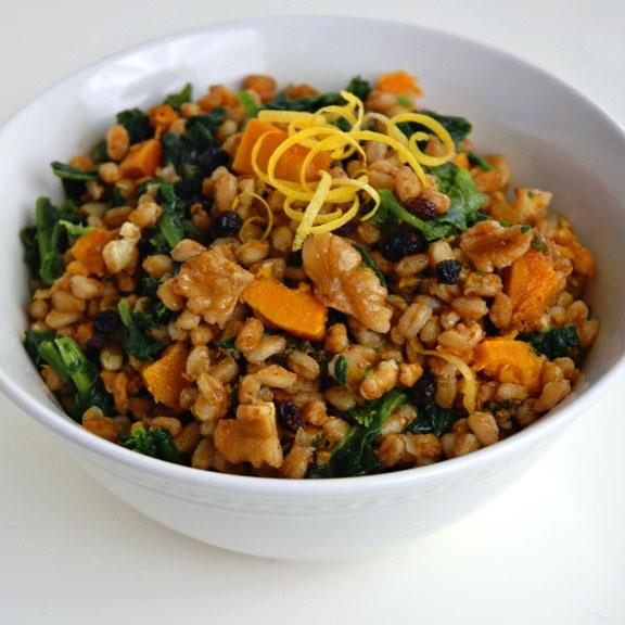 Farro, squash, kale salad | salads! | Pinterest