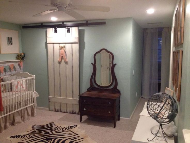 DIY Sliding Barn Door in Nursery - #NurseryDesign