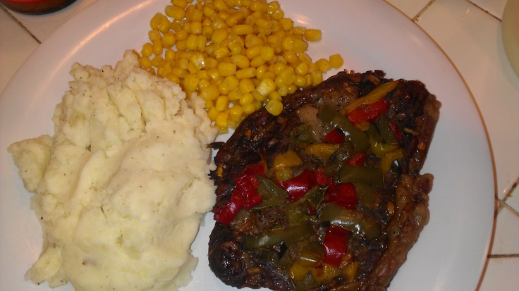 Caribbean jerk pork chops with grilled peppers
