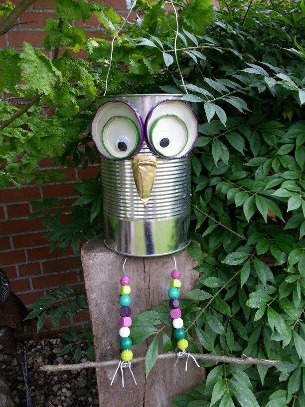 Gartendeko basteln mit kindern  Eule aus Dosen und Deckeln. Hübsche Gartendeko. | upcycling ...