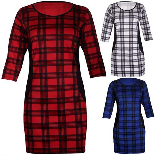 Womens New Tartan Check Print Ladies 3/4 Sleeves Mini Short Fit Dress