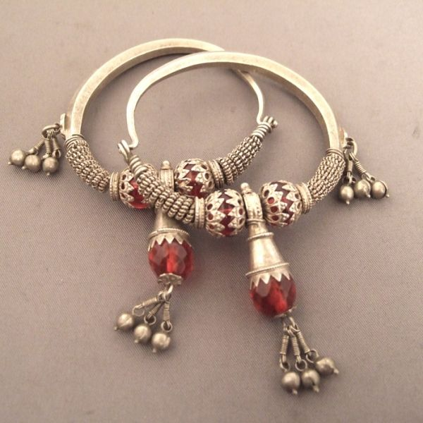 OLD SILVER EARRINGS FROM HIMACHAL PRADESH