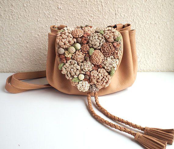 Leather Crochet Bag : crochet & leather bag Crochet Bags Pinterest