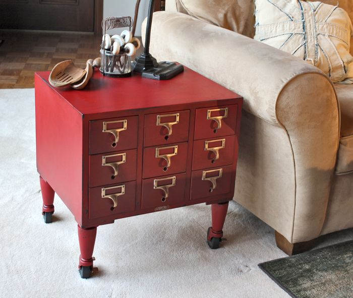 card catalogue as a side table Furniture
