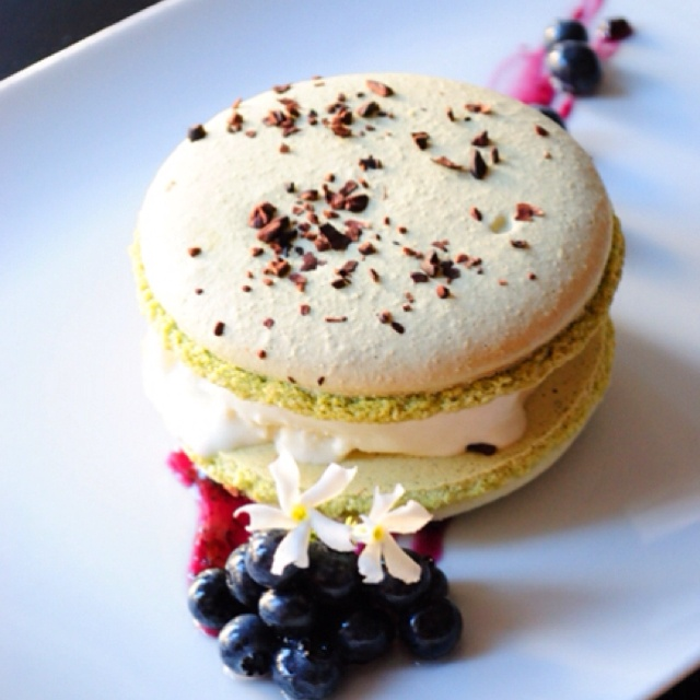 Ice cream sandwich: Macaron, Blueberries, Blueberry Vanilla Ice Cream.