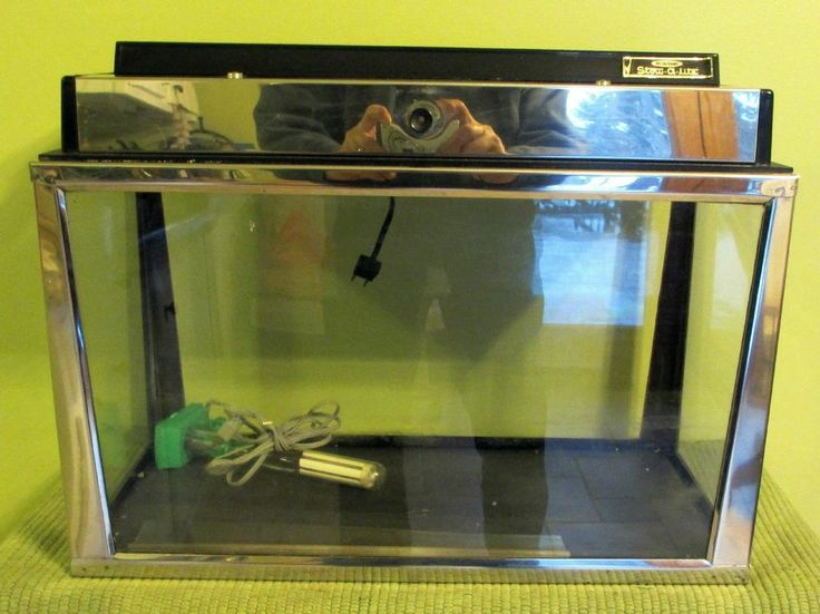 Antique stainless slate bottom 10 gallon aquarium with for 50 gallon fish tank hood