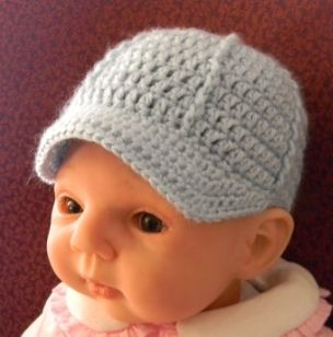 Free Crochet Pattern Newborn Baseball Cap : Newborn Ballcap Pattern - Free Patterns Crafts for Me ...