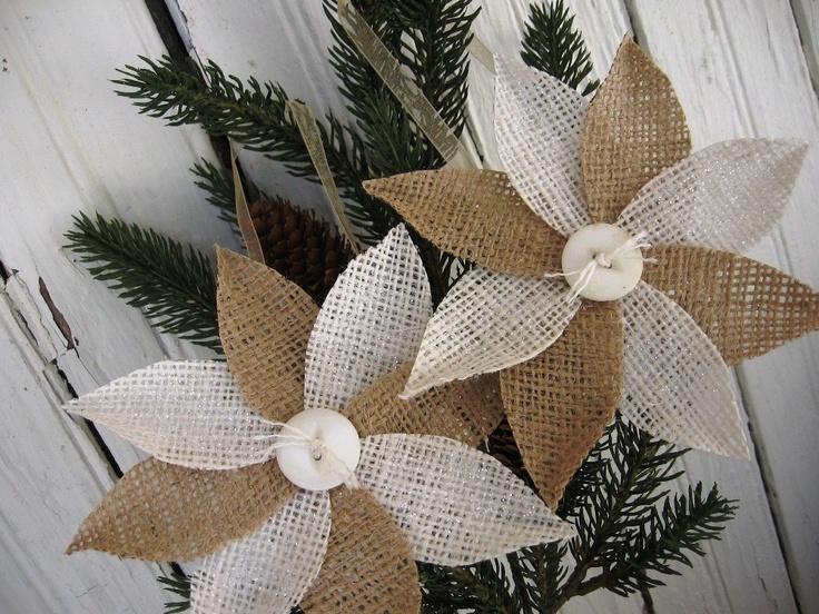 Burlap Poinsettia Ornaments | Christmas/Winter Crafts | Pinterest