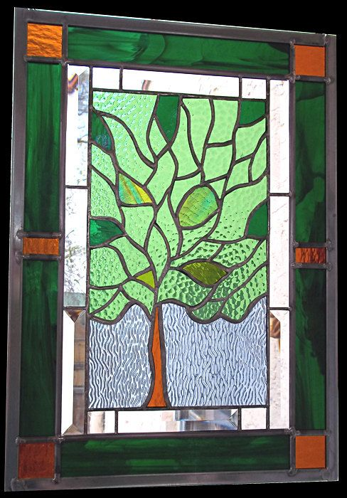 Tree of Life Stained Glass Window Panel