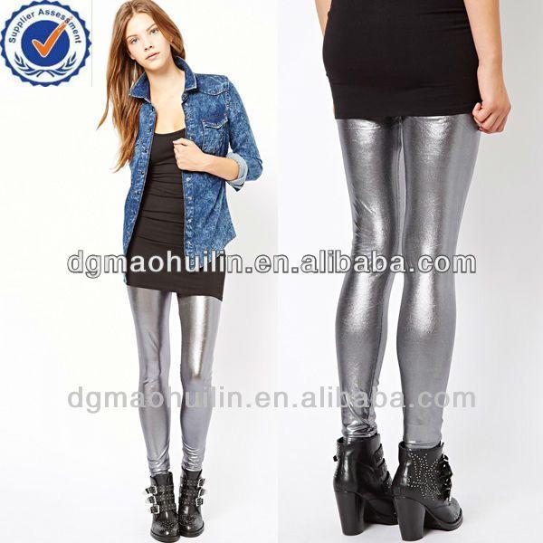 Stretch capris metallic hot pants women in trousers photo