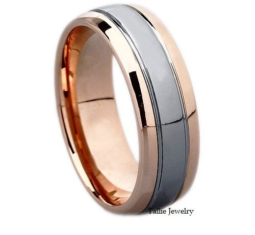 Mens 14K White And Rose Gold Wedding Band Ring 7MM Wide Sizes 4 12 Fr