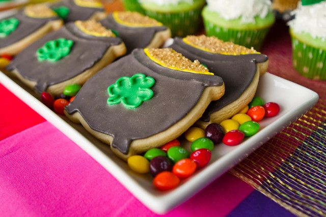Pot of gold cookies on rainbow skittles at a St. Patrick's Day Party #stpatricksday #cookies