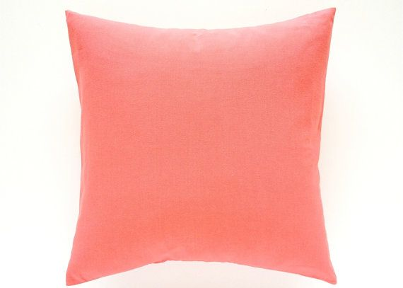 Solid Coral Throw Pillows : Solid Coral Pink Decorative Pillow Cover. All Sizes. Throw Pillow Cov?