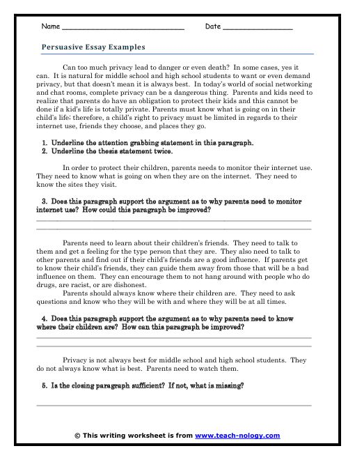 expository essay topics for middle school students