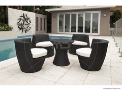 OUTDOOR RATTAN WICKER STACKING TOWER 5PC SET - BLACK