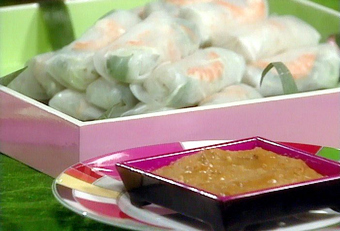 Shrimp Spring Rolls with Peanut Dipping Sauce from FoodNetwork.com