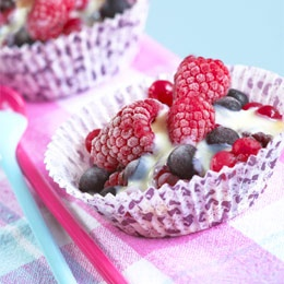 frozen berries with hot white chocolate sauce one of my favorite and ...
