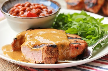 Grilled Pork Chops Brushed With A Zesty Mustard BBQ Sauce Recipe ...